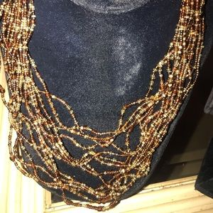 New Avon Muti- Strand Seed Bead Necklace Brown